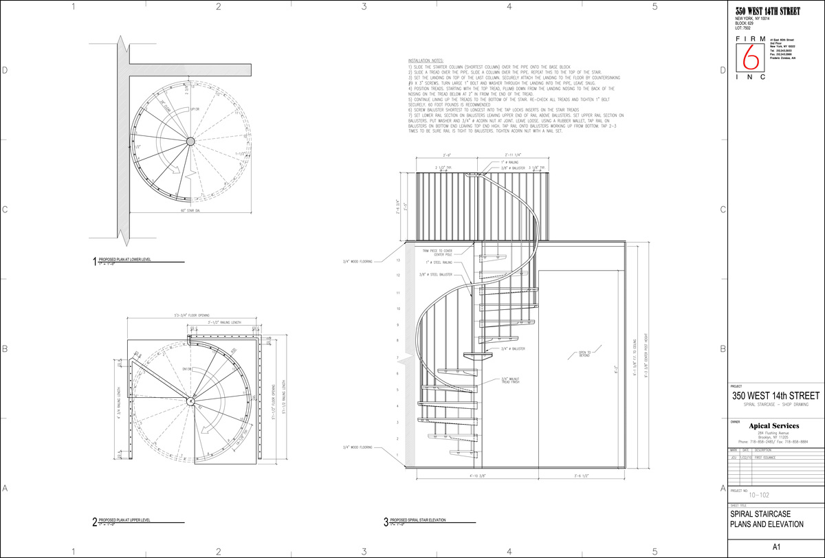 Spiral staircase for a duplex in chelsea juan carlos for Spiral staircase design plans