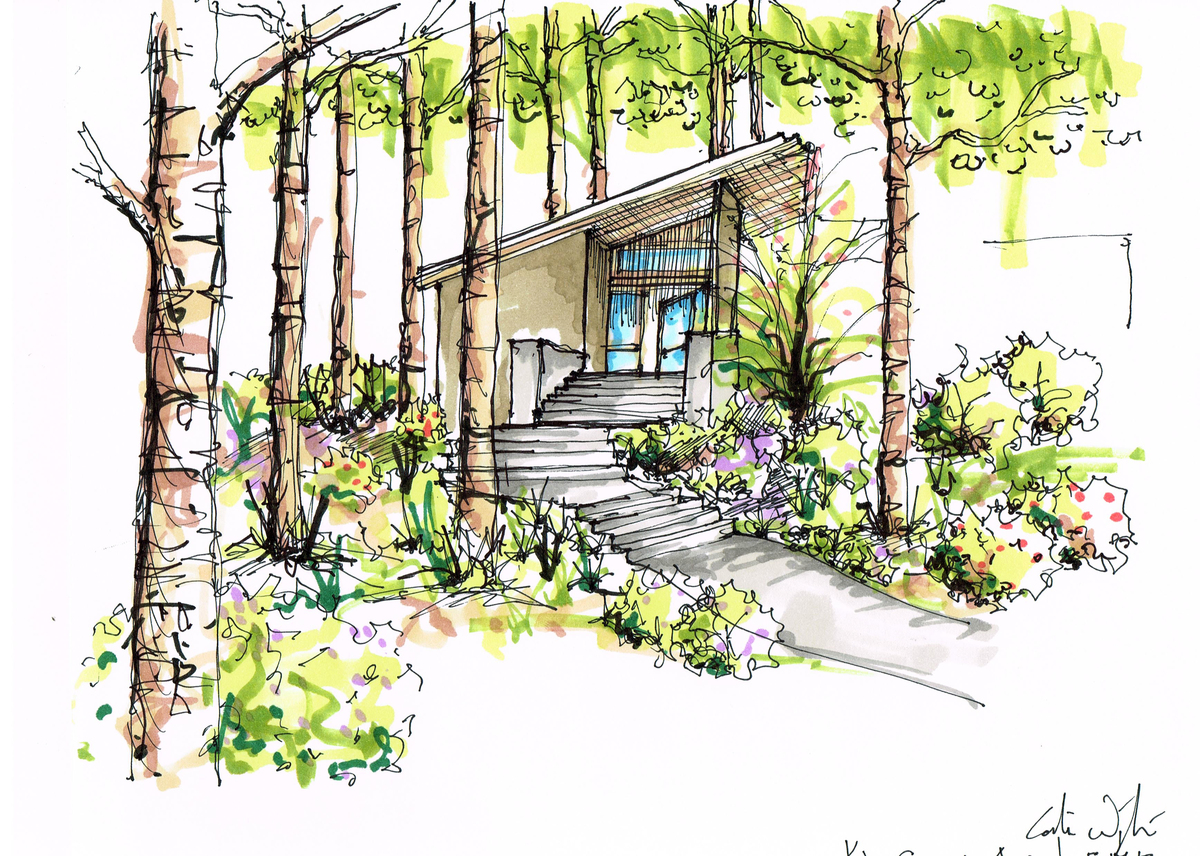 Project concept sketch of arrival on site