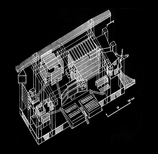 Fun Palace Axonometric, by Cedric Price and Joan Littlewood