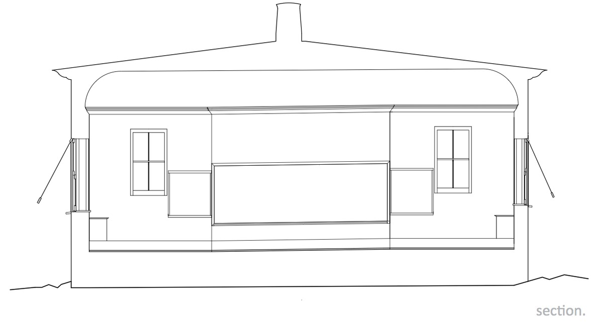 Interior section elevation.