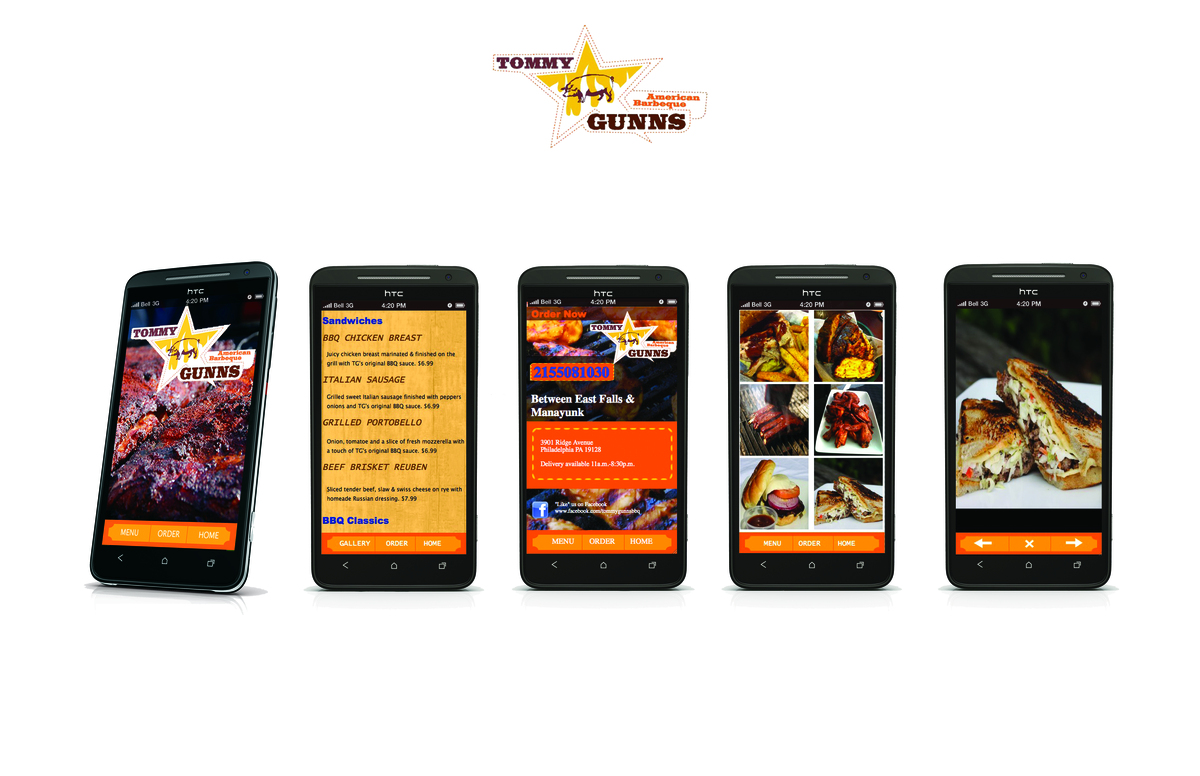 A mobile website designed for Tommy Gunns, a local barbeque eatery and catering business. The mobile website allows users to view the menu as well as specific dishes, and order their meal.