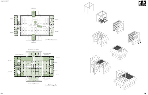 Drawings and diagrams by raumlabor for Markthalle Neun via Chris DeHenzel