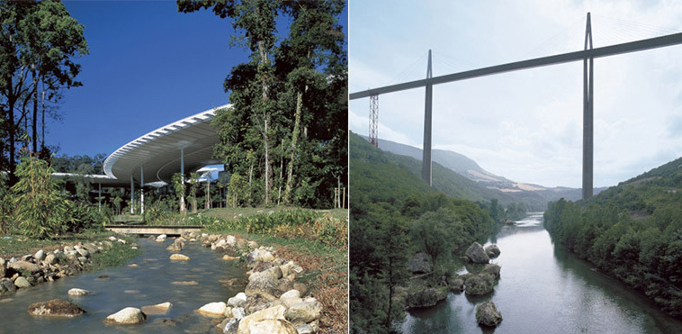Left: Petronas University of Technology, Malaysia © K L Ng; Right: Millau Viaduct, Millau, France © Nigel Young/Foster + Partners