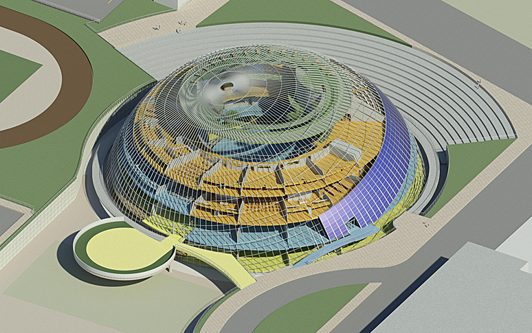Campus International School proposal, Northwest aerial perspective of K-12 school and campus.