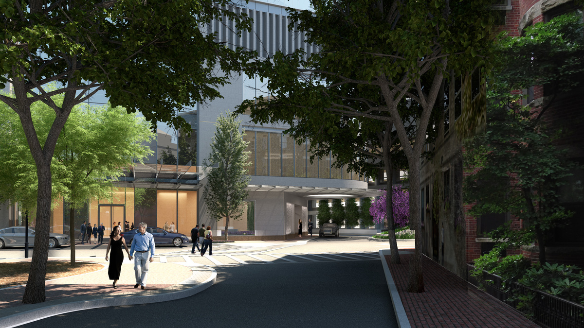 View along St. Germain Street of porte-cochère at entry to Four Seasons Private Residences