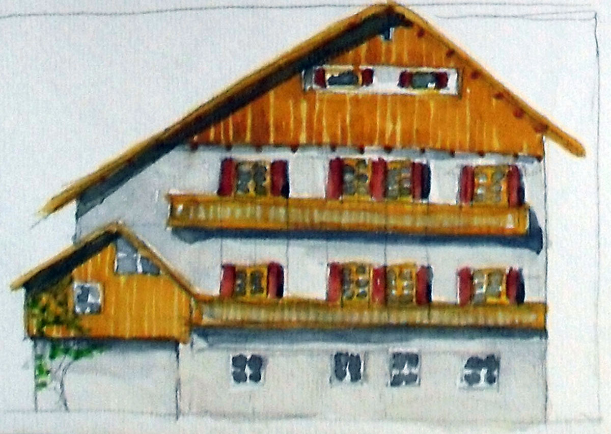 Bavarian Home: watercolor