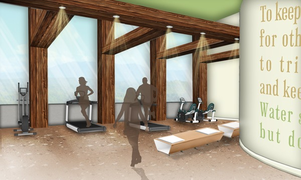 Evolve Fitness Center View: Google SketchUp, Adobe Photoshop