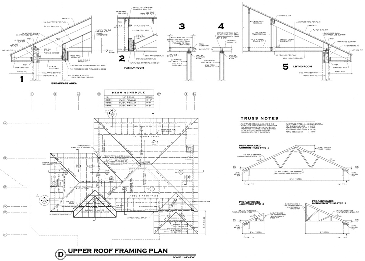 Roof framing plan