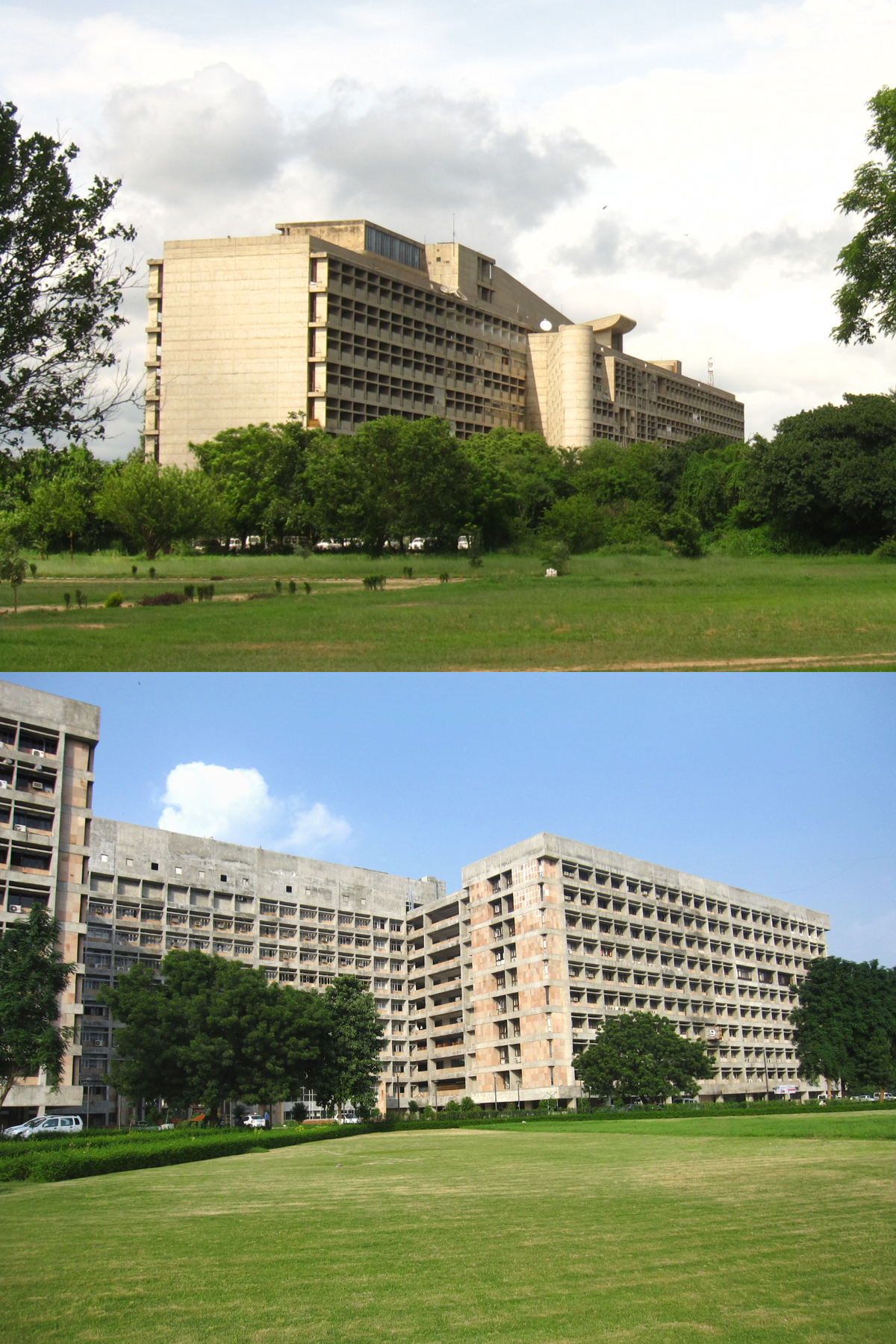 Top: Corbus decency to break up the façade Bottom: A drab Gandhinagar