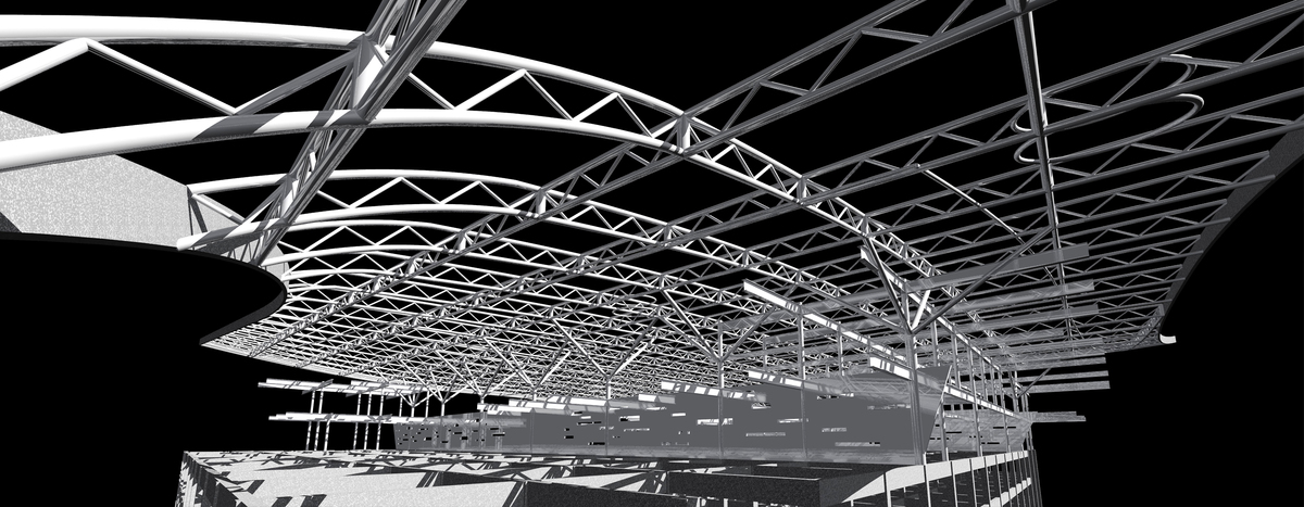 Structural Steel Truss and Structural Trees with concrete post and beam base