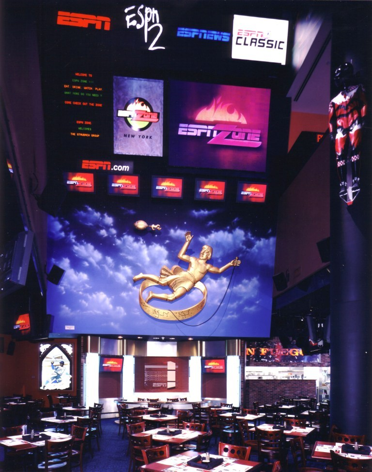Disney ESPN Zone - Dining with video wall.