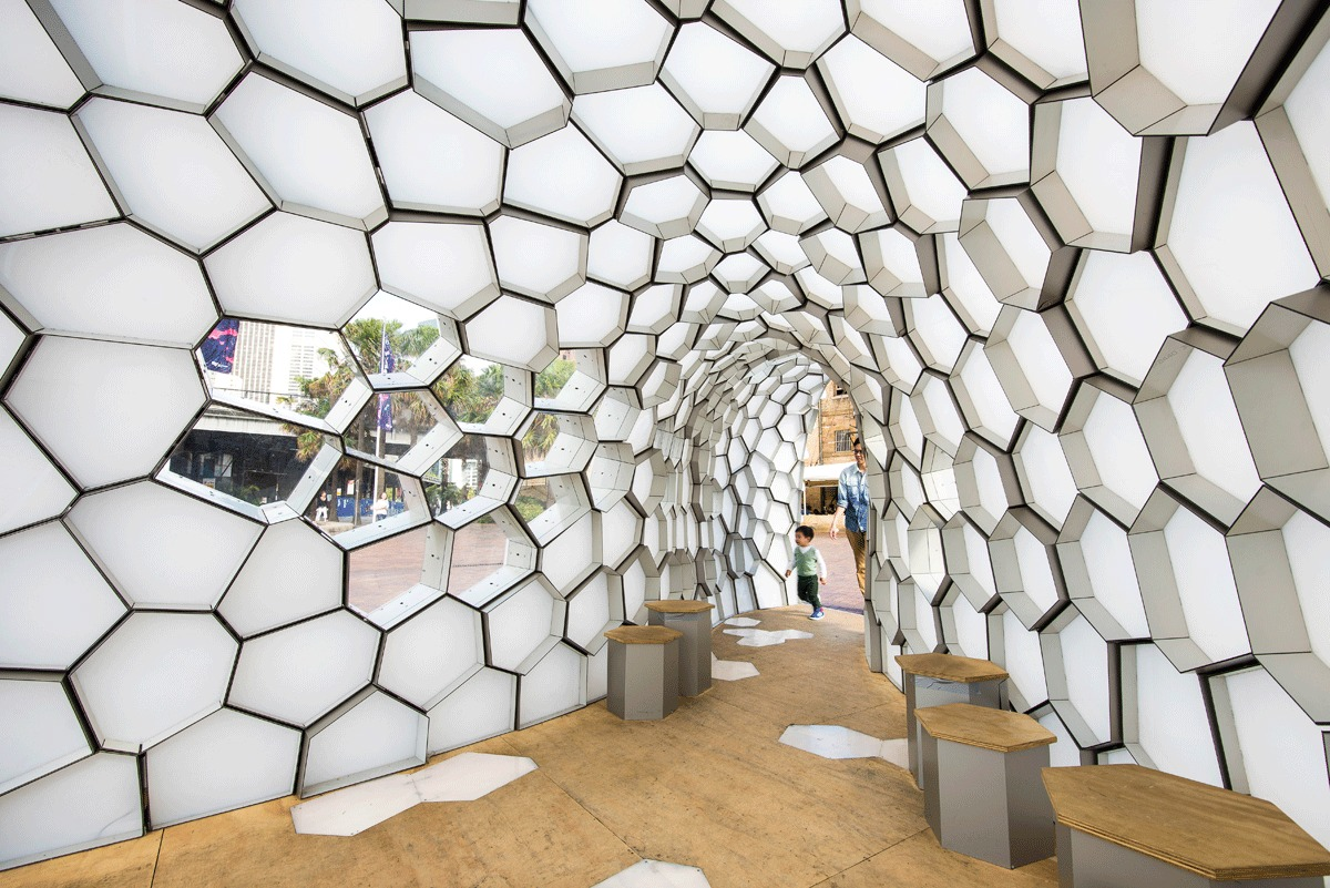 Student Works Cellular Tessellation Pavilion Lights The