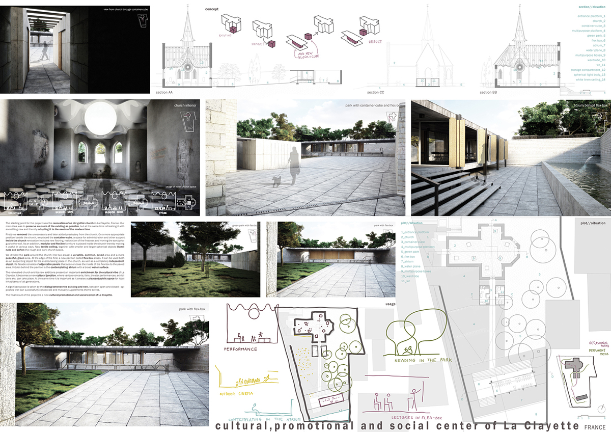 Honorable Mention: Cultural, promotional and social center of La Clayette, France, Rok Skerjanc, Andrej Seligo