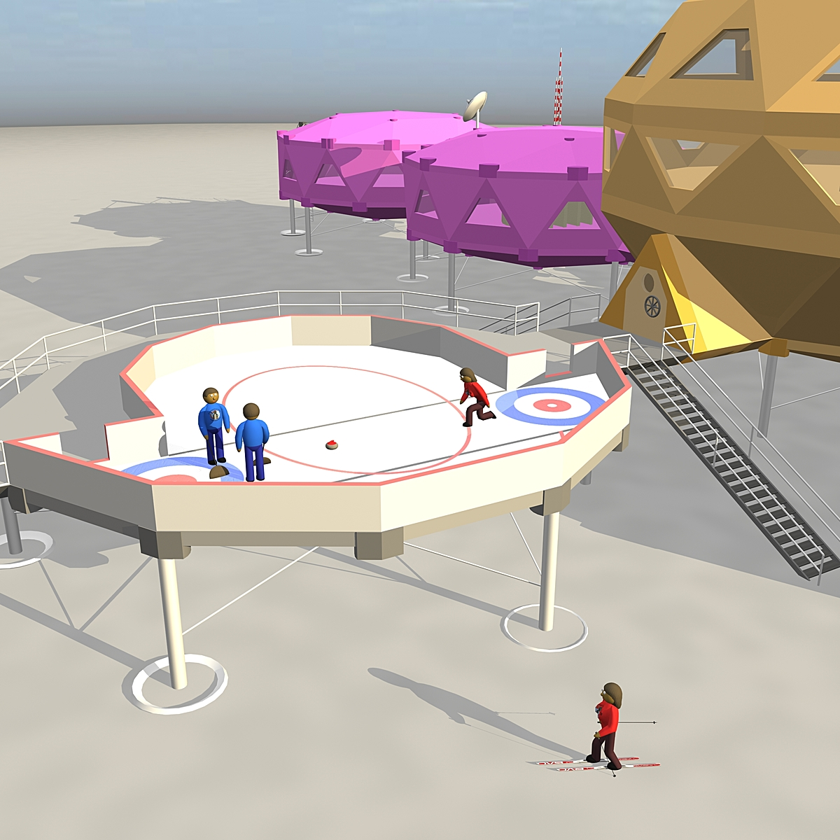 The stations ice rink is available to station residents and hotel guests. The Intrepid Penguin Lodge does its best to maintain the ice rink so that ice skaters and curlers can enjoy it. And of course, all equipment is provided by the station.