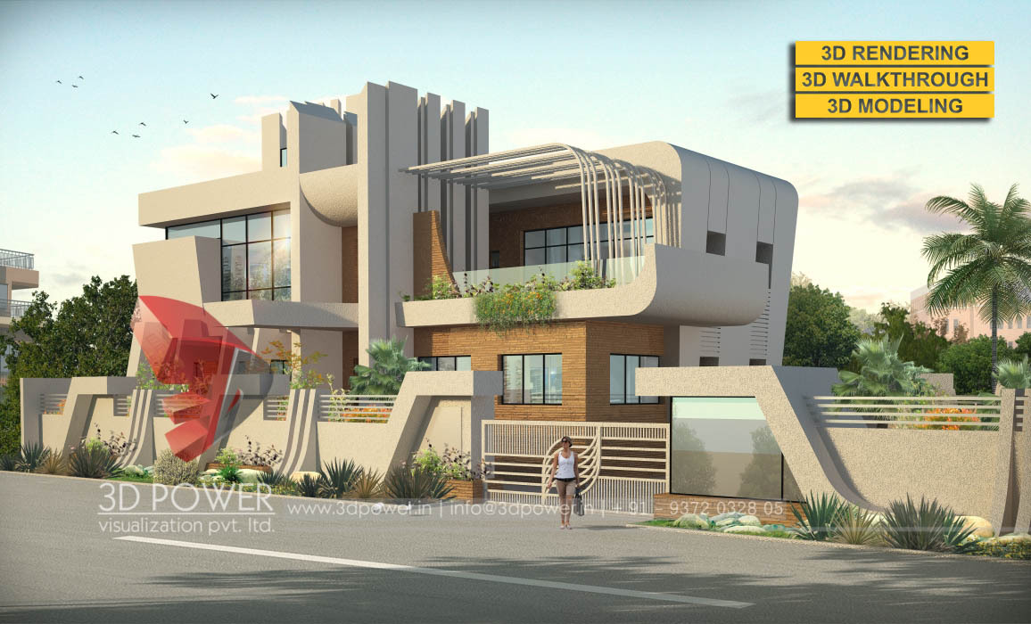 Lavish 3d Modern Bungalow Exterior Rendering And Elevation
