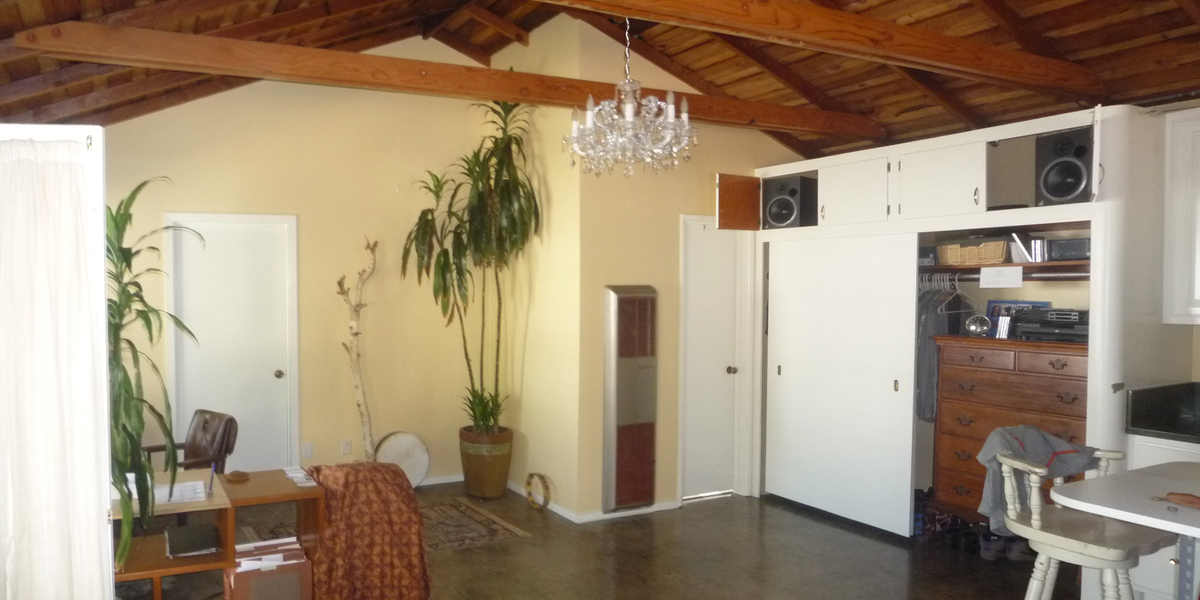 Repainted walls and Art Deco closet restored