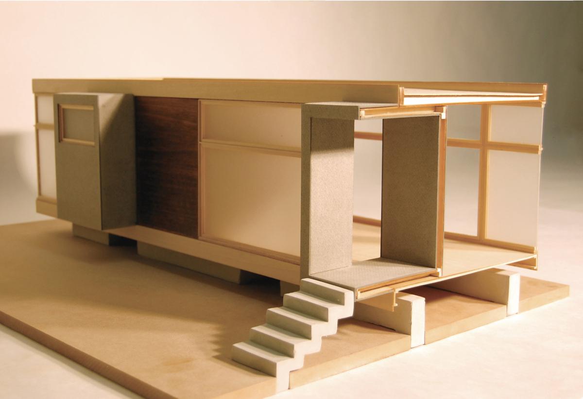 3/4 Sectional Model (basswood, acrylic, rockite)
