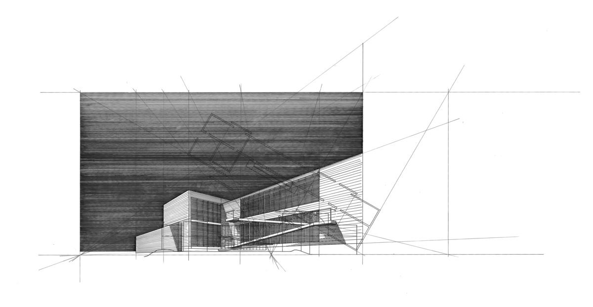 Ink on Mylar - Tadao Ando's Eychaner Lee House