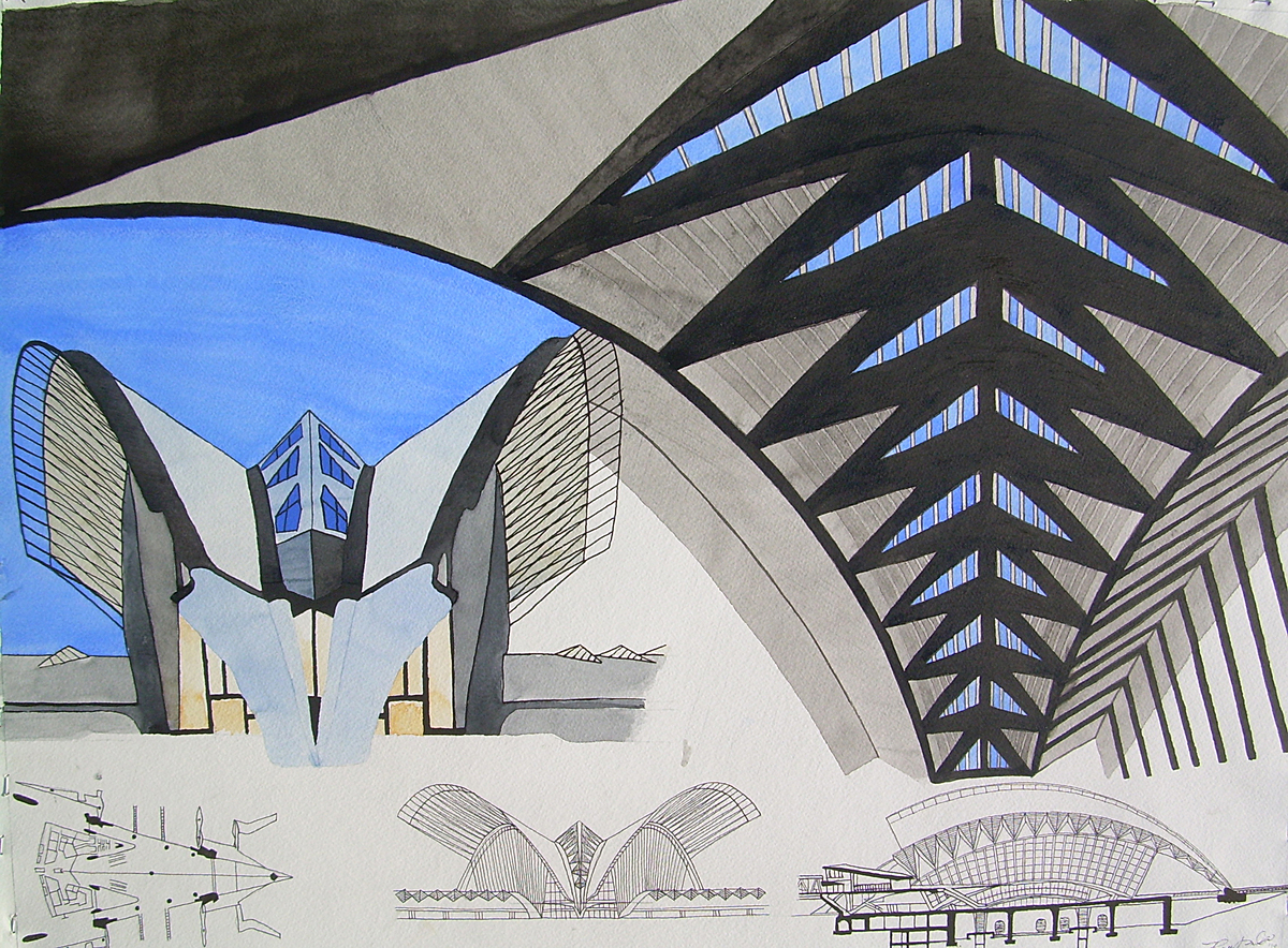 watercolor of Lyon TGV Station by Calatrava