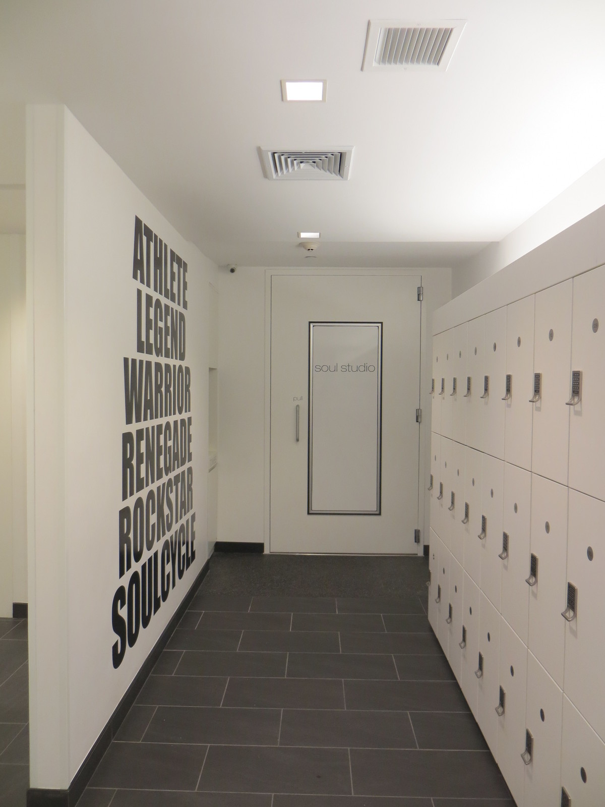 open locker room at studio entrance