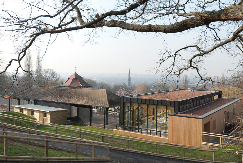 View from the animal enclosure, overlooking the new Pavilion, refurbished Dutch Barn and bandstand (Photo: Michael Harding)