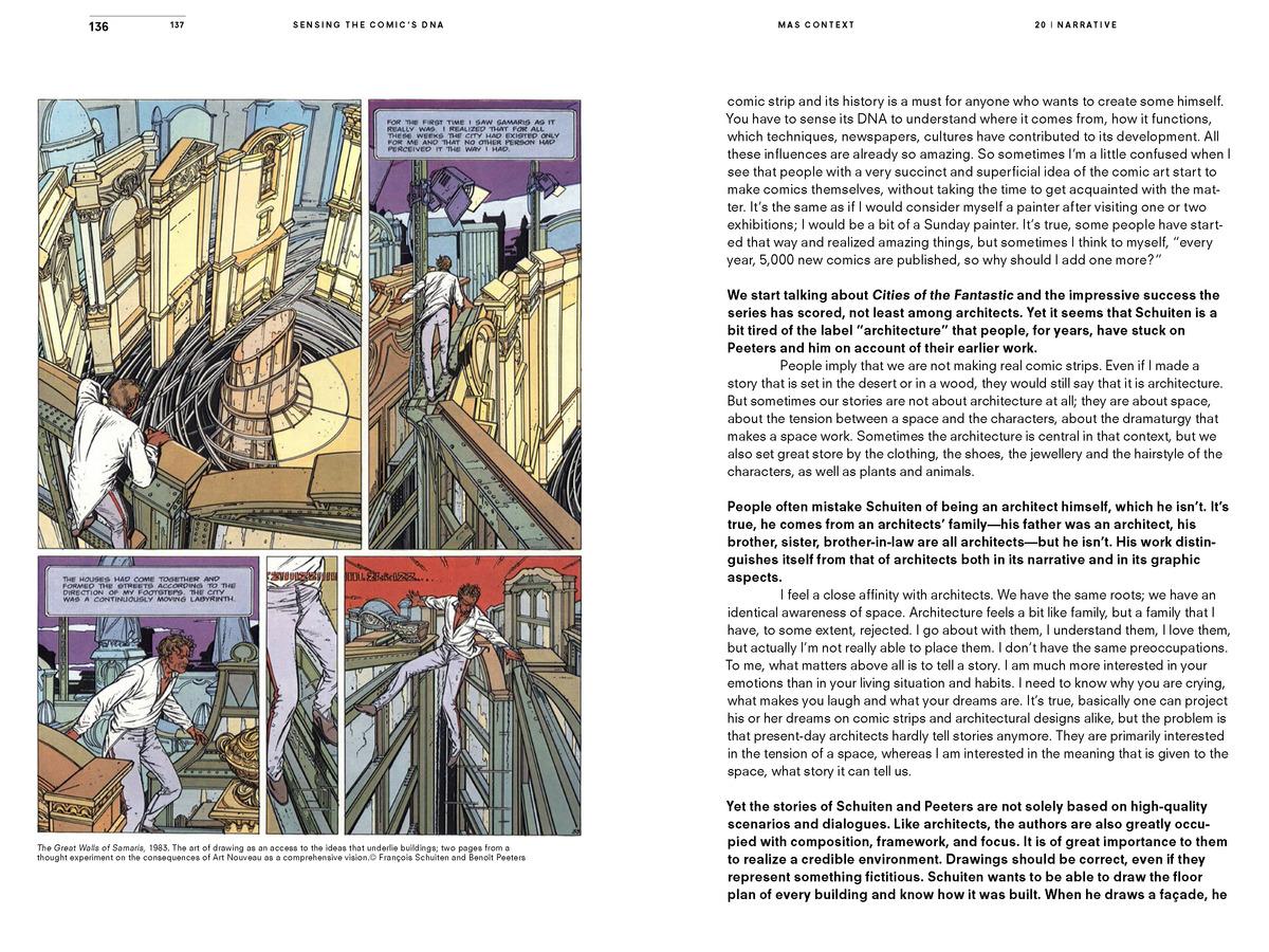 MAS Context Narrative. Sensing the Comic's DNA. Excerpts of a conversation with François Schuiten (spread) © MAS Context
