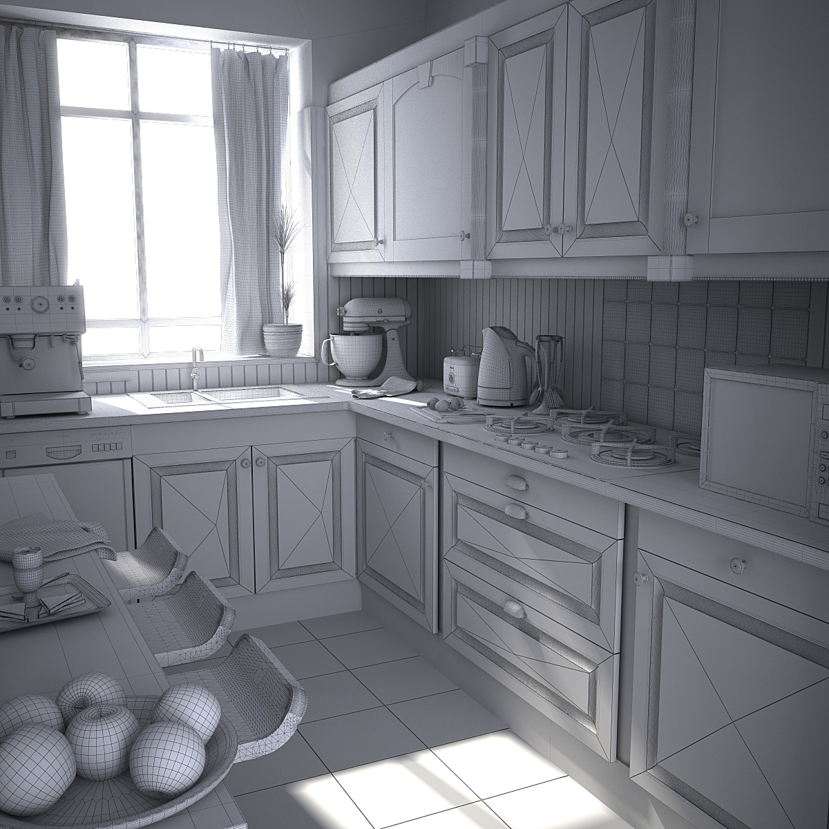 Wireframe render of kitchen model