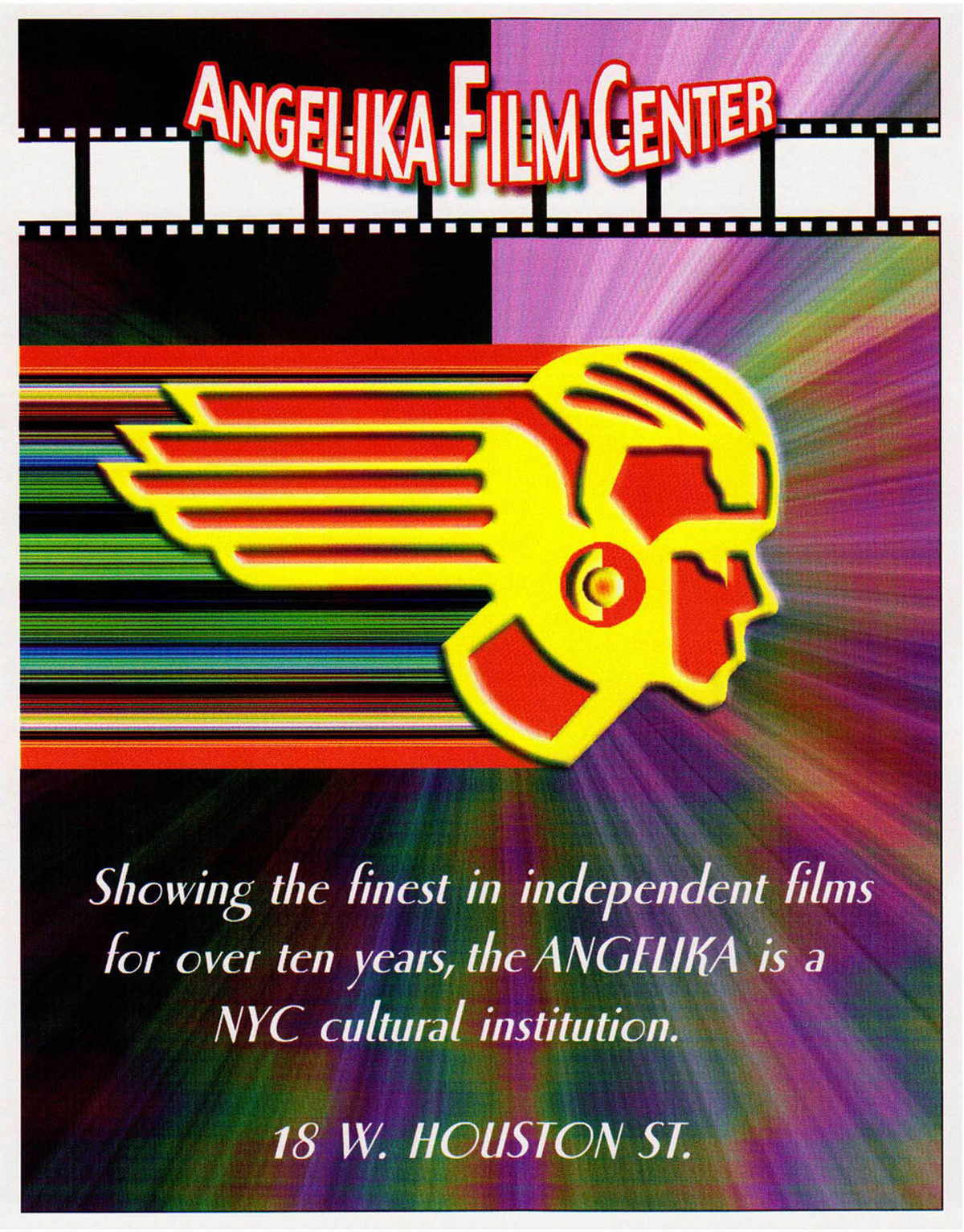 This piece is a poster advertisement for the Angelika Film Center, an independent film center located in NYC.