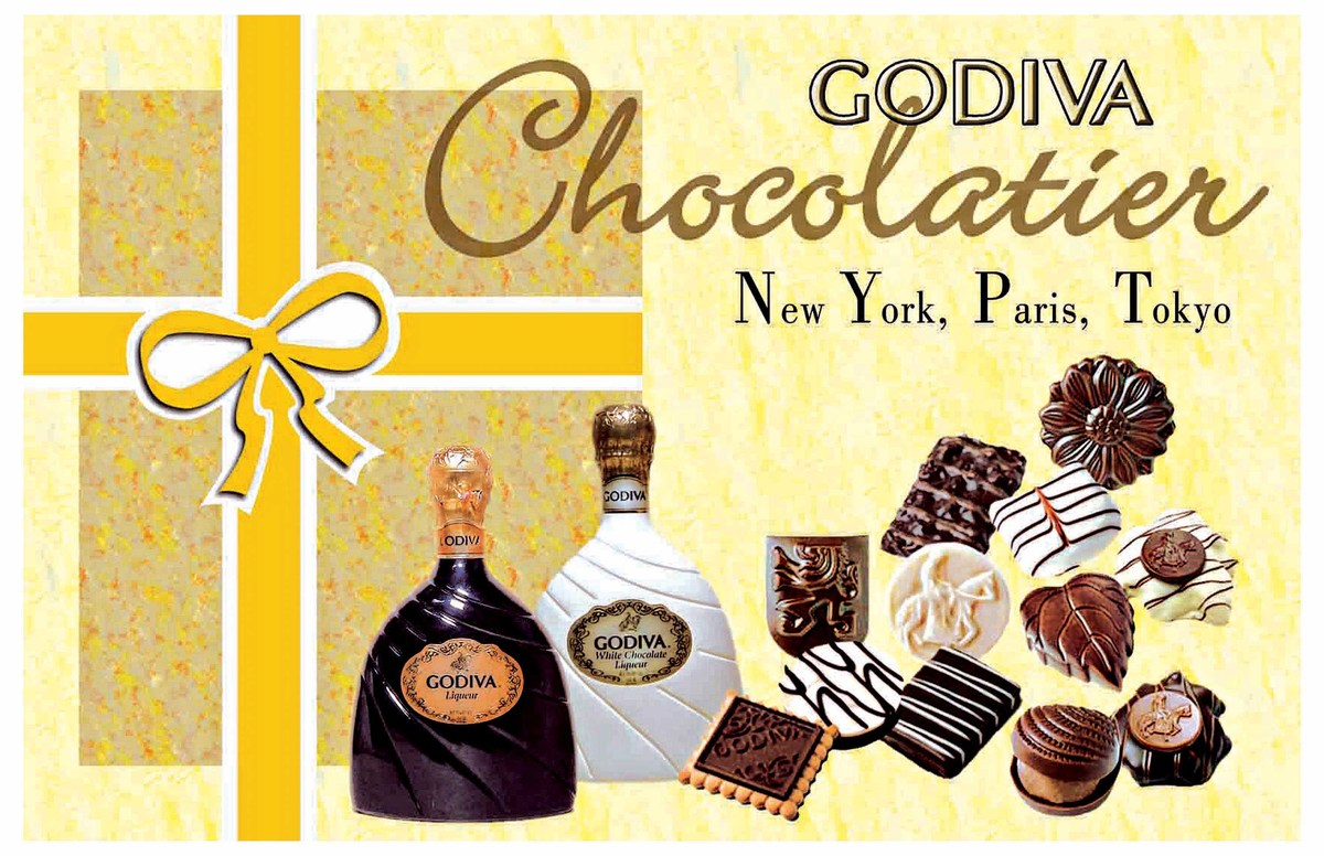 This piece is a magazine spread advertisement for Godiva chocolate.