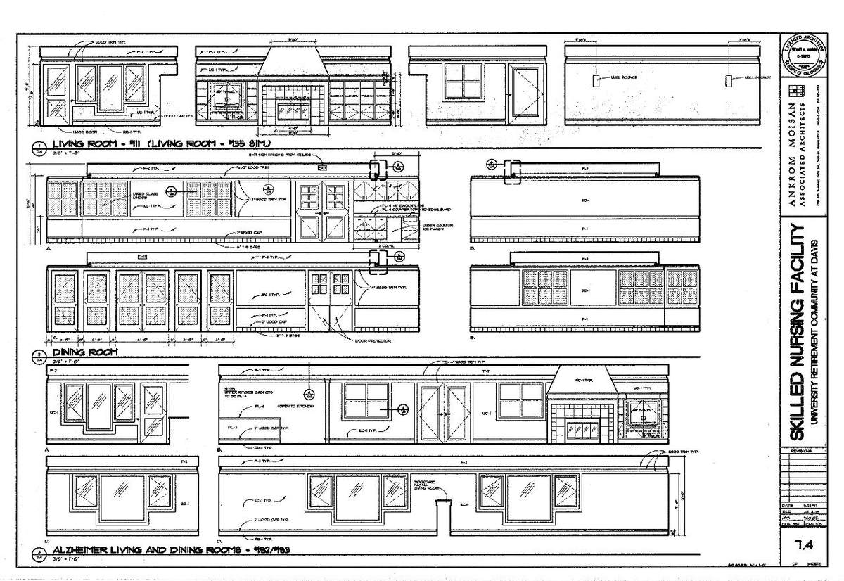 Interior Elevations- Living, Dining, & Alzheimer's Living and Dining.