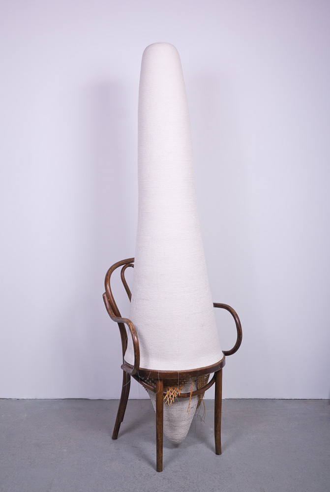 Fauxnet Accumulation stitched cotton rope and bentwood chair, 2013. Photo by Michael Popp