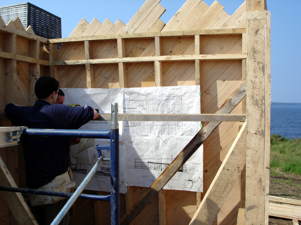 Canted West Wall w/ Diagonal Sheathing