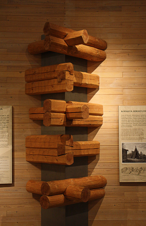 Corner details at the Lusto Finnish Forest Museum in Punkaharju, 1994