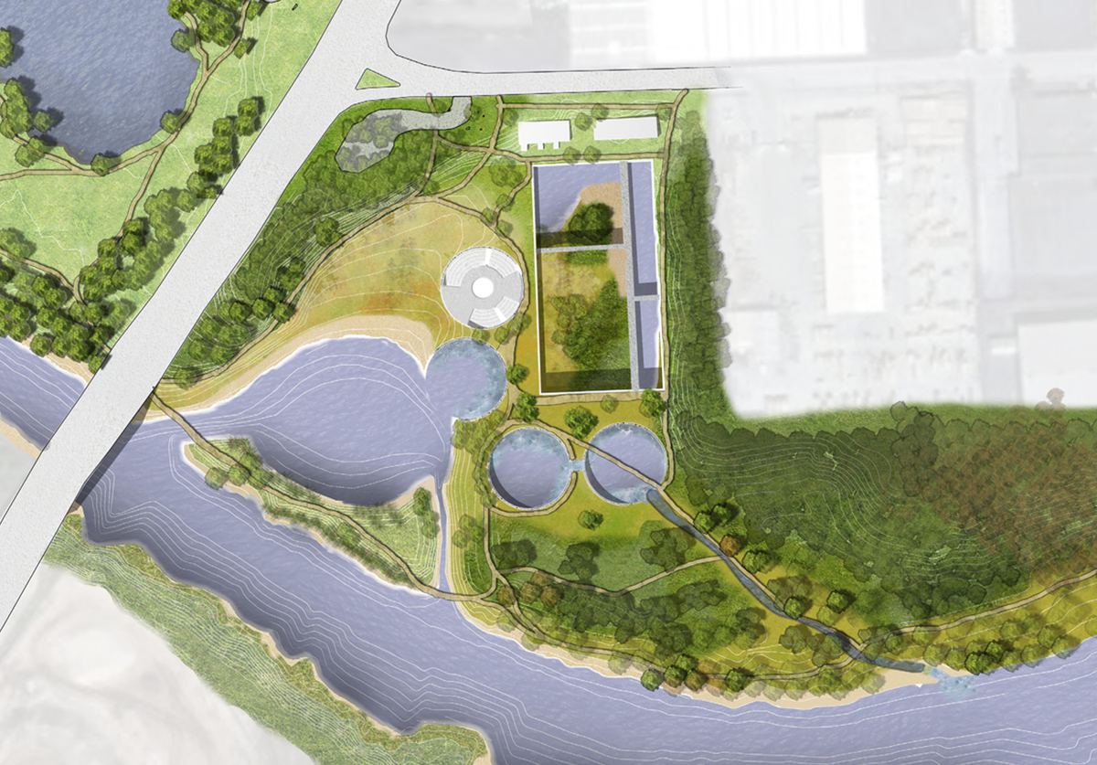 EcoPark – Plan Rendering for a proposed renovation to an abandoned water filtration plant completed at Gensler, Houston TX (After). Image courtesy of Jim Bogle.