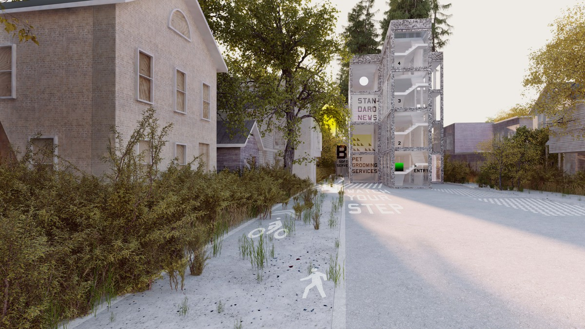 Rendering of MOS's Thoughts on a Walking City project for Orange, New Jersey. Image courtesy MOS.