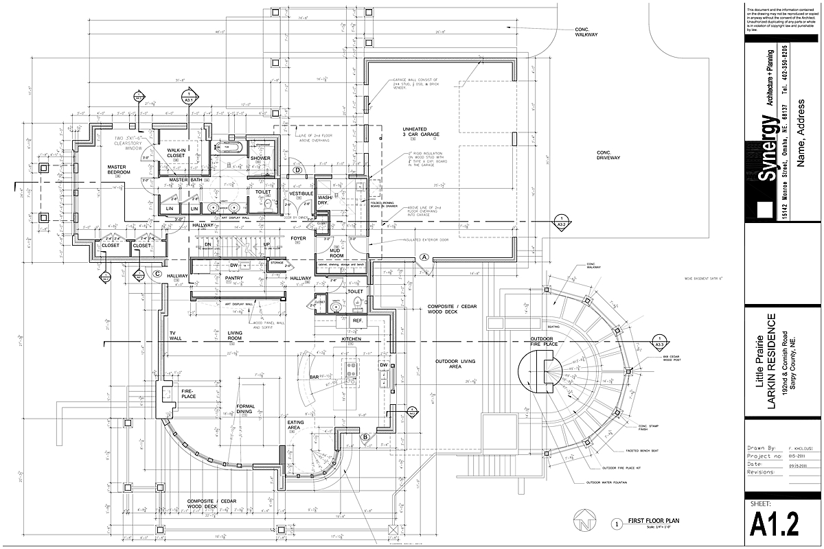 Set of construction drawing for custom home synergy for Custom blueprints