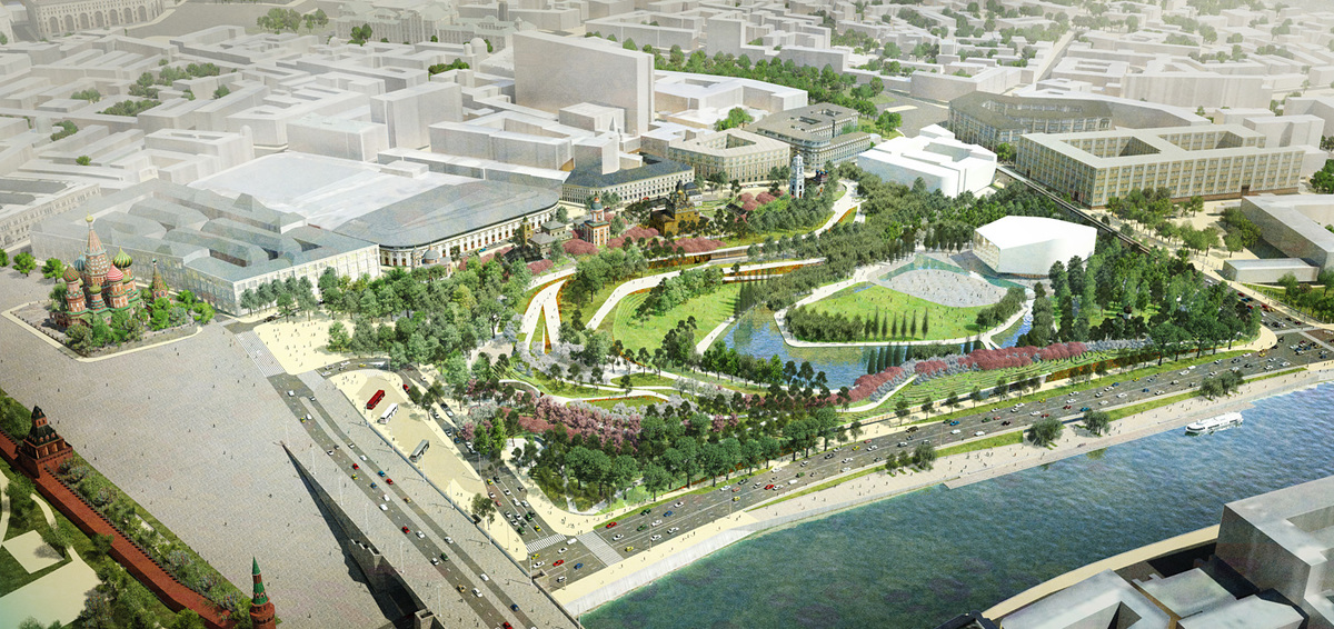 Zaryadye Park design scheme by Team TPO Reserve - 2nd-place entry. Image: Team TPO Reserve.