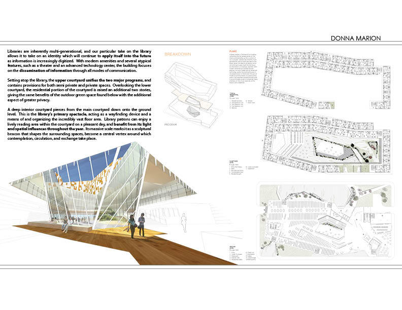 Courtyard - render, plans