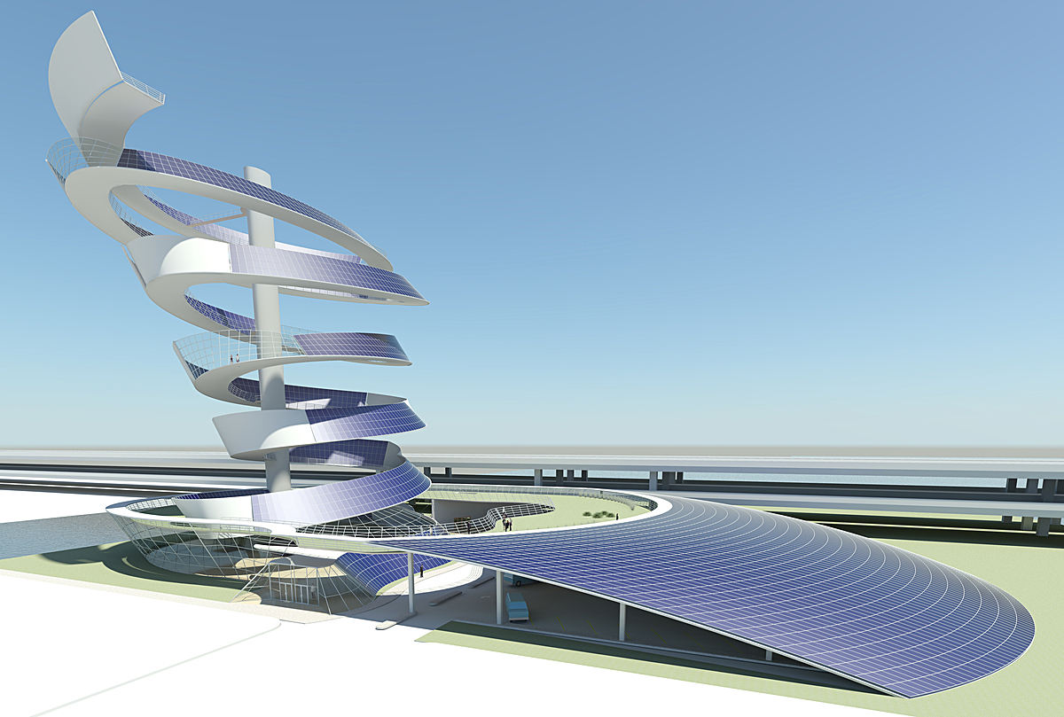 Chicago Solar Spire proposal, sustainable design urban mixed use PV Power Plant