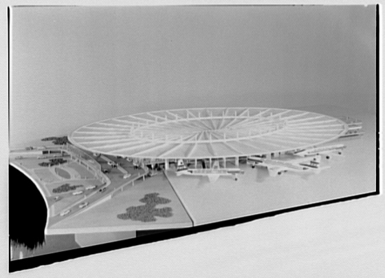 The distinctive flying saucer roof design of the Worldport via Wikimedia Commons