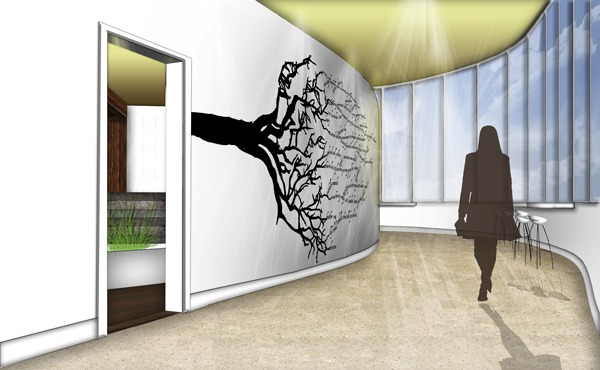 Rooted Restaurant and Tea Room Hallway View: Google SketchUp, Adobe Photoshop