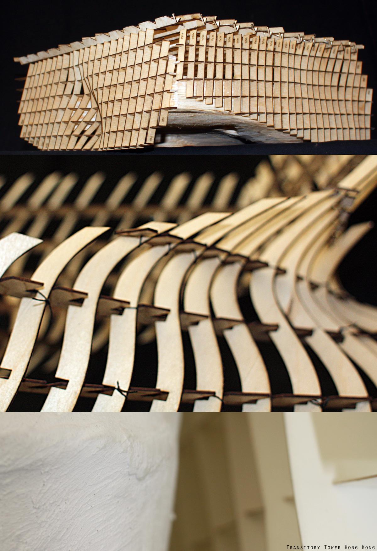 Parametric models _ CNC and laser cut. 1: precedent (Broad Museum) 2: transformation 3: final model (6 tall)