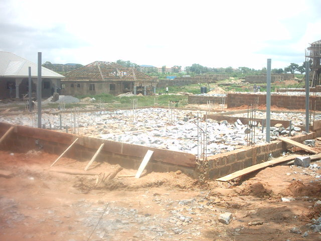 We were prepping the foundation for the floor slab. Construction is a little different in this part of the world.