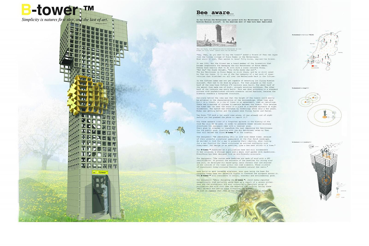 Small-scale Intervention, Second Place: B-Tower (TM), various sites, Netherlands
