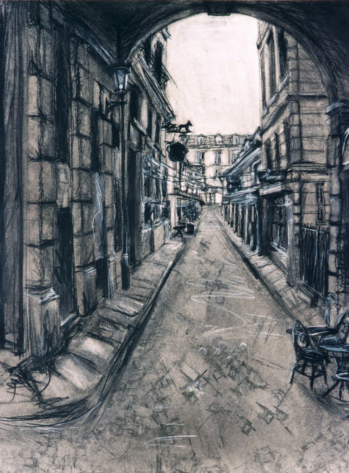 Street Scene in Paris: charcoal