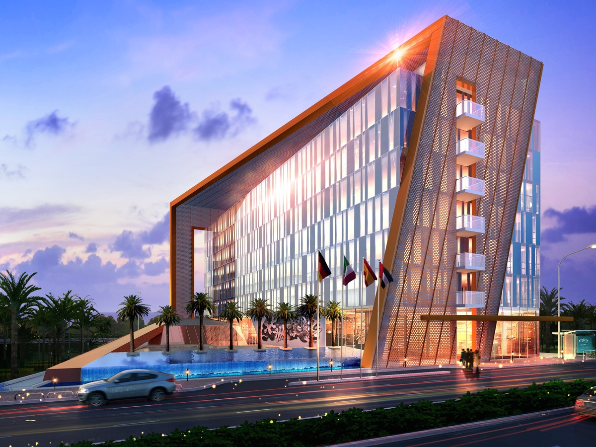 Hotel rendering for a famous architect from dubai for Design hotel 3d