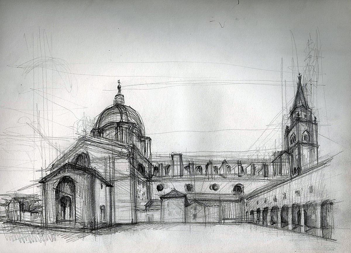 Church, Mantova ,Italy (graphite +ink)