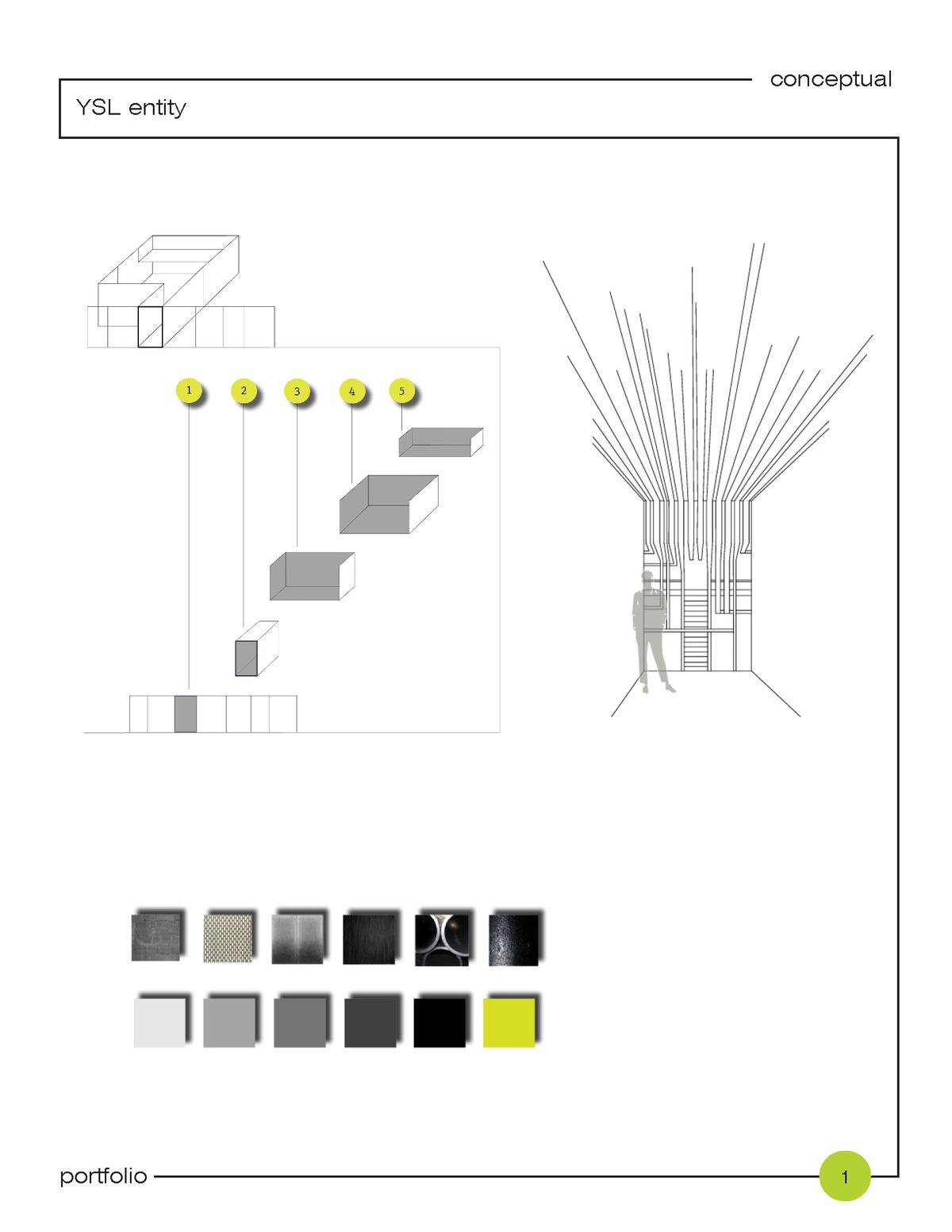 + interior; spatial flow and color scheme