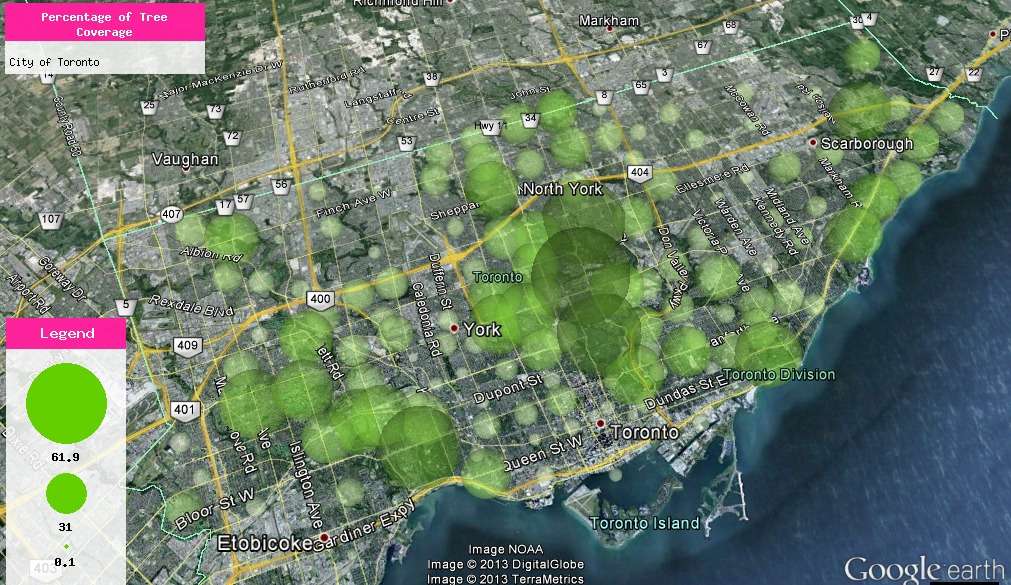 Percentage of Tree Coverage datascape, City of Toronto. Rendered in a light green semi-transparent, spherical model. Data Source: City of Toronto