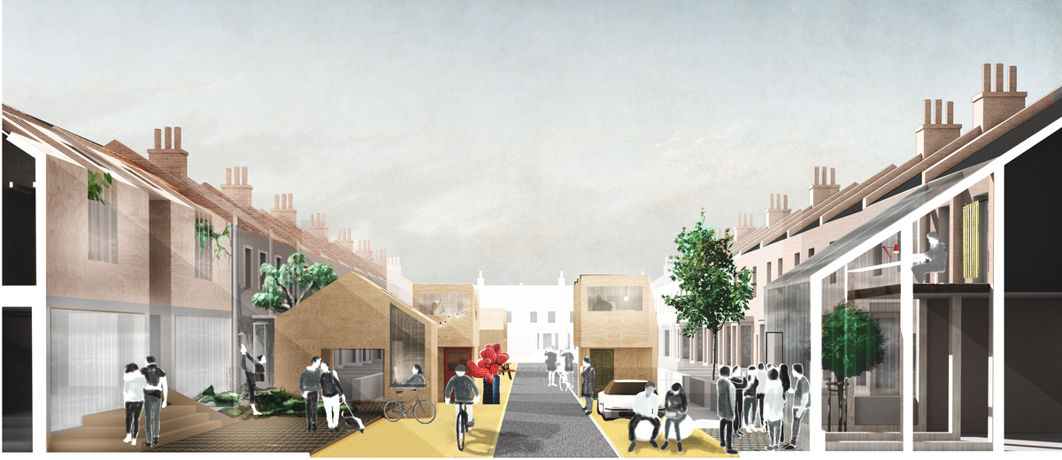 A view of a reinterpreted suburban street, part of the low-rise proposal, which fragments the home into a series of activities across a walking distance block. Credit: ED/GY